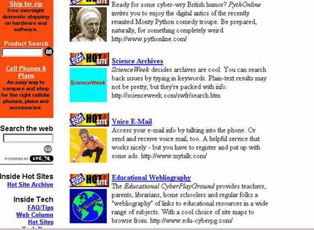 Educational CyberPlayGround wins Hot Site Award 1999